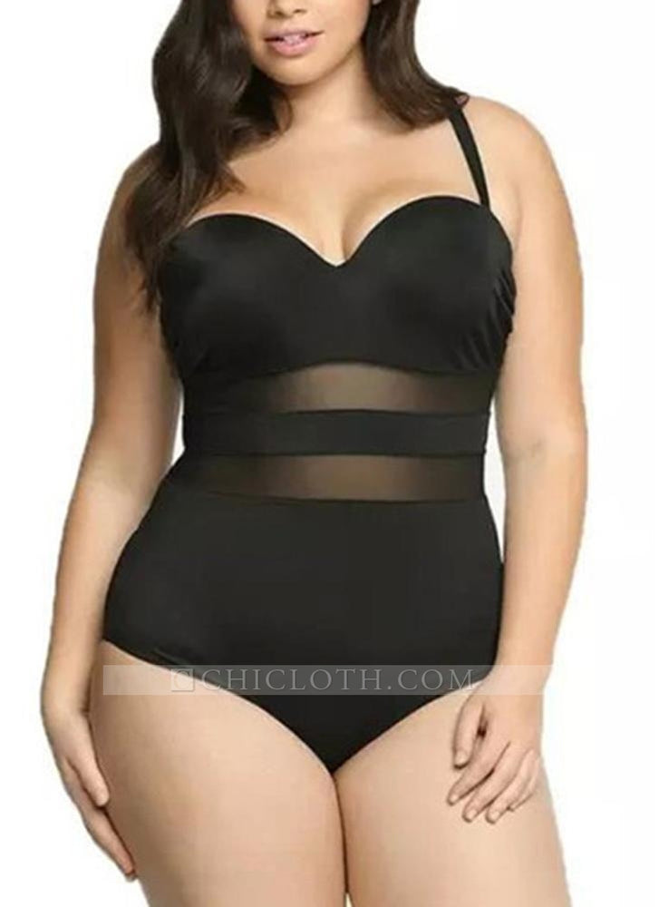 B| Chicloth Large Size Mesh Splice Push Up One Piece Swimsuit-polyester,nylon,plussizeswimsuit-Chicloth
