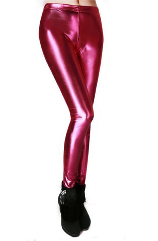 Women Slim Fashion Shiny Metal Rose Red Leggings