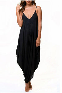 Chicloth V-neck Black Split Front Maxi Dress-Chicloth