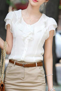 A| Chicloth Solid Cute Polyester Round Neckline Short Sleeve Blouses
