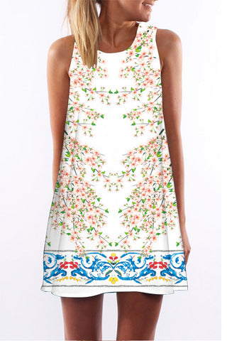 A| Chicloth Floral Tank Sleeveless boho Dress-Chicloth
