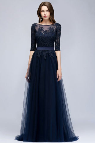 A| Chicloth A-line Half Sleeves Floor Length Slit Appliqued Tulle Prom Dresses with Sash-Evening Dresses-Chicloth