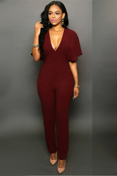 B| Chicloth Burgundy Ployester Sexy Jumpsuits Tight Fit Jumpsuits