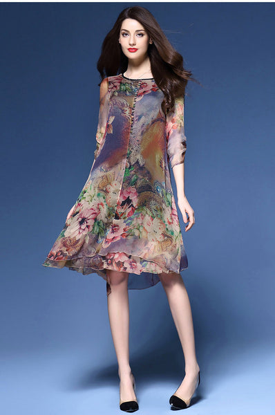 A| Chicloth Floral Print Round Neck Half Sleeves Nylon Mid Dress - Chicloth
