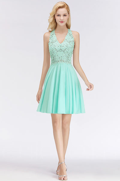 AA| Chicloth Women's Solid Lace Cocktail Party Dress