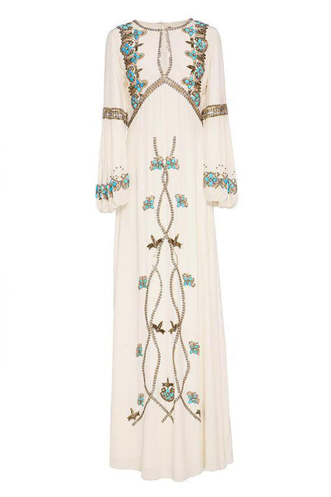 B| Chicloth White Embroidered Puff Sleeve Maxi Dresses-Maxi Dresses-Chicloth