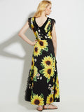 Chicloth V-neck Sunflower Dress