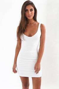 B| Chicloth Halter Strap Dress Spring And Summer Solid Bodycon Dress - Chicloth