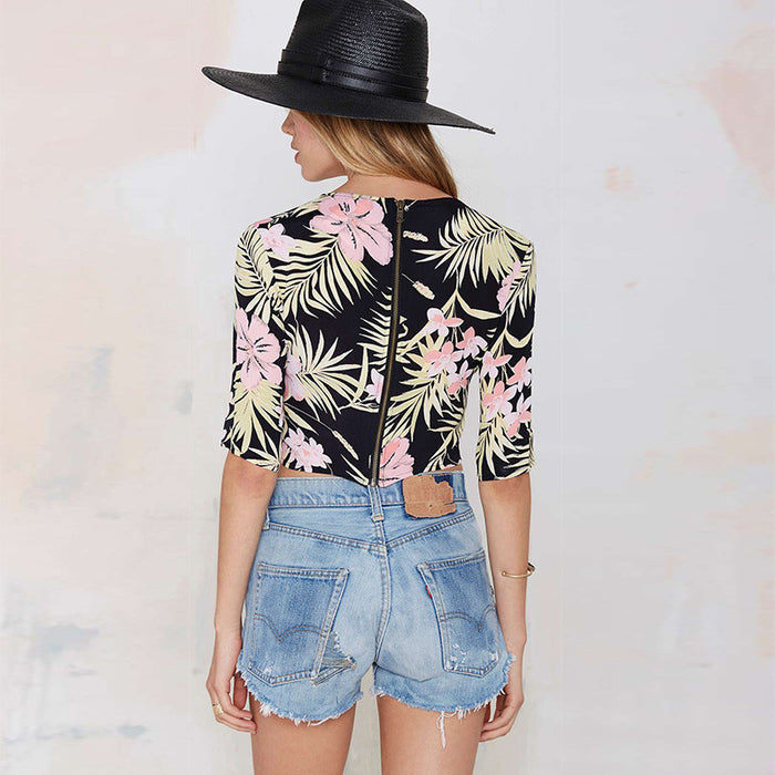 Chicloth Tropical plant printed metal zipper before short after long umbilical T-shirt-Chicloth