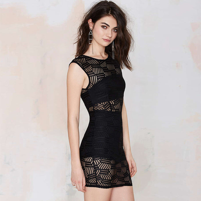 Chicloth Scoop neck See-through Little Black Dress-Chicloth