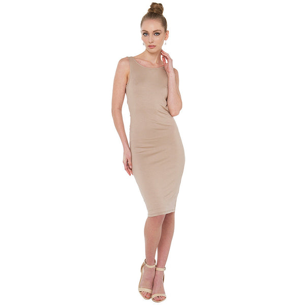Chicloth Backless Nude color Bodycon Dress