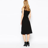 Chicloth V-neck Sleeveless Little Black Dress