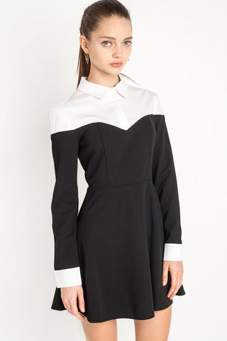 Chicloth Two toned Long sleeve Shirt Dress - Chicloth