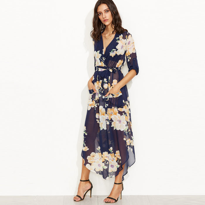 Chicloth Sexy V-neck Floral High Low Dress-Chicloth