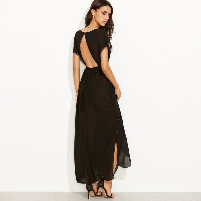 Chicloth See-through Black Beach Dress-Chicloth