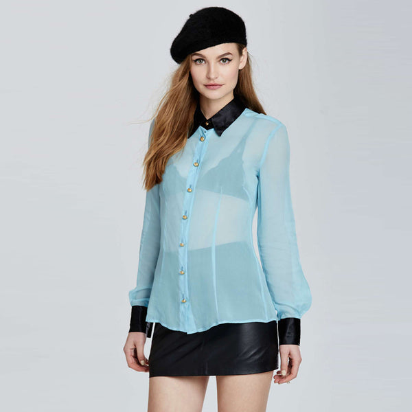 Chicloth Commute OL sexy perspective blue and black hit color splicing Slim chiffon long sleeves blouse