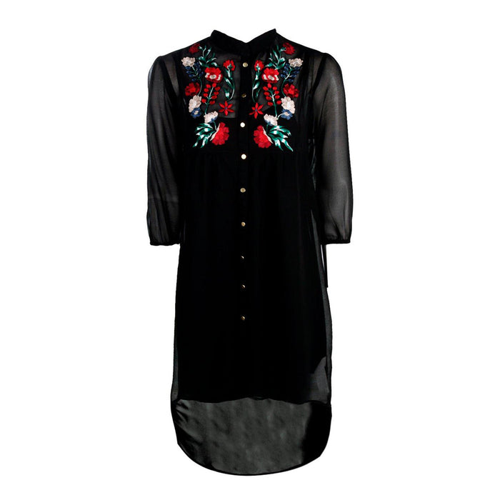 Chicloth Black Embroidered Neck High Low Dress-Chicloth
