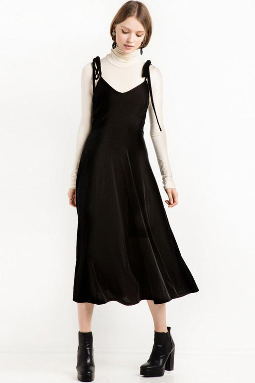 Chicloth Black Velvet Slip Dress-Chicloth
