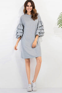 Chicloth Ruffle Sleeve Loose T-shirt Dress - Chicloth