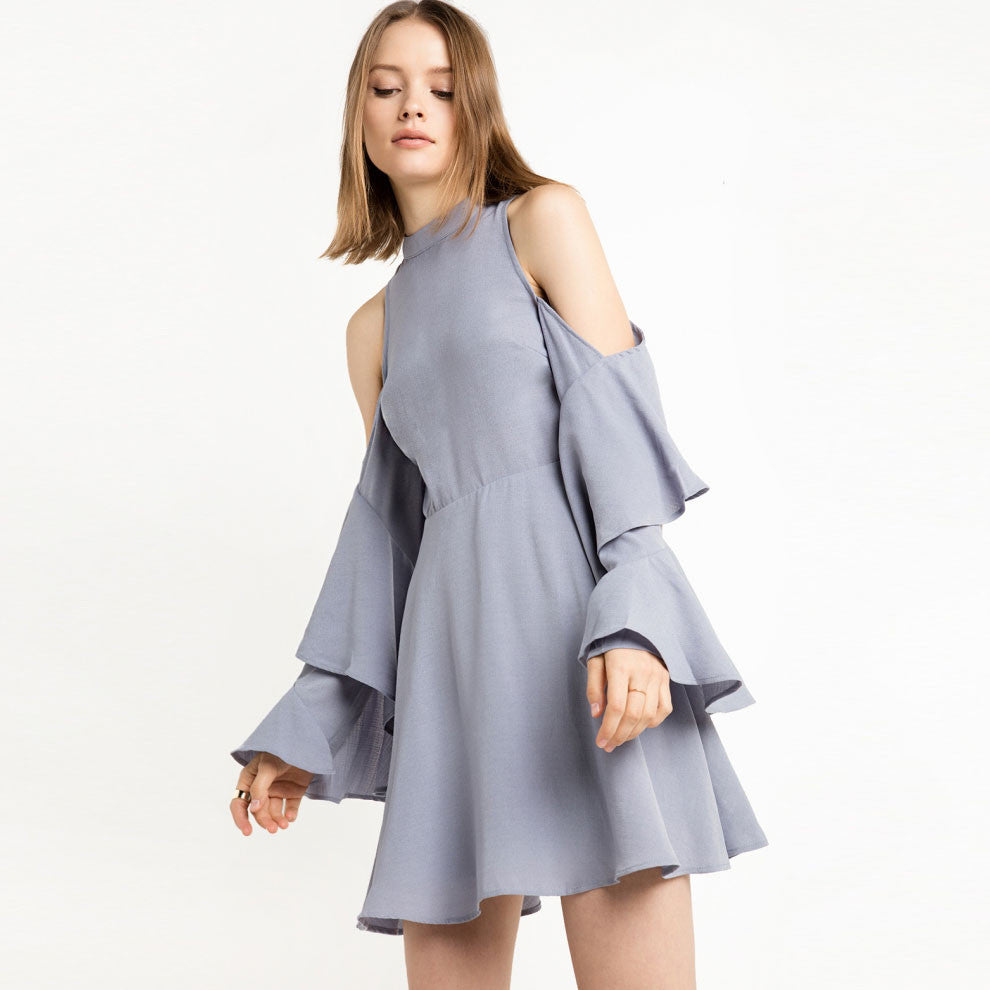Chicloth Bare shoulder A-line Lavender Dress