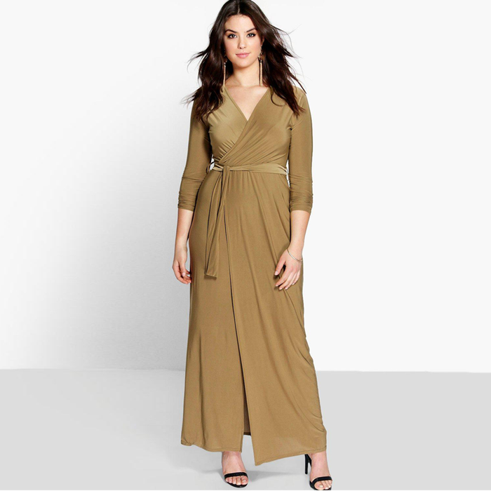Chicloth V-neck Long Sleeve Wrap Dress-Chicloth