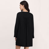 Chicloth Mess Neck Black Shift Dress