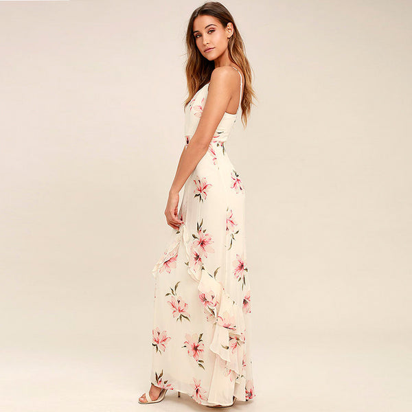 Chicloth Floral Print Harness Dress-Chicloth
