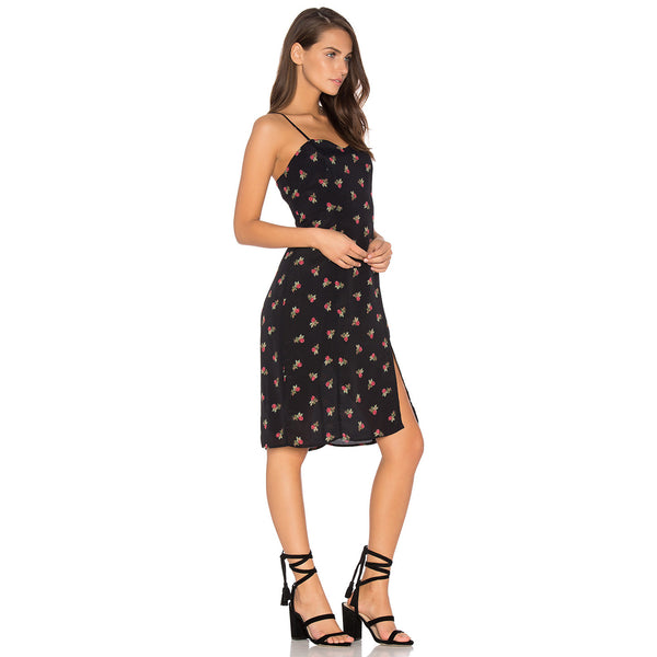 Chicloth Floral Print Harness Black Dress-Chicloth