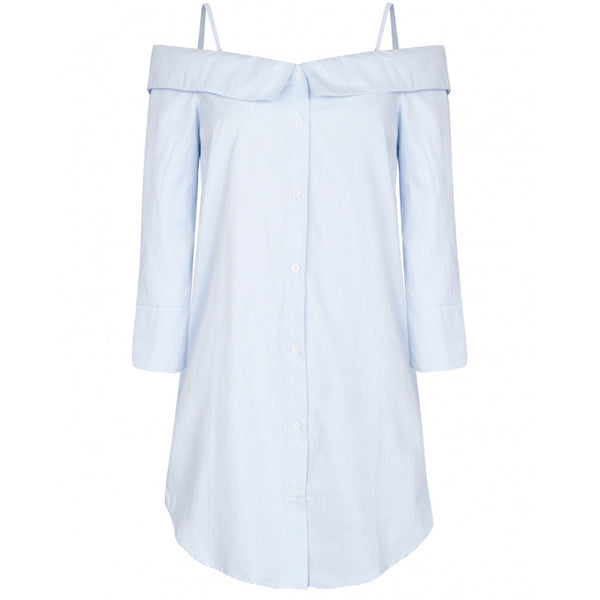 Chicloth A Shoulder Blue T-shirt Dress