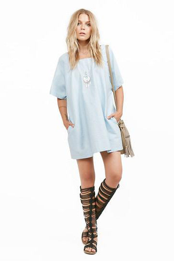 Chicloth Middle Sleeve Blue Dress - Chicloth