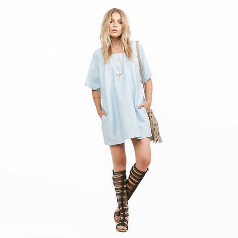 Chicloth Middle Sleeve Blue Dress