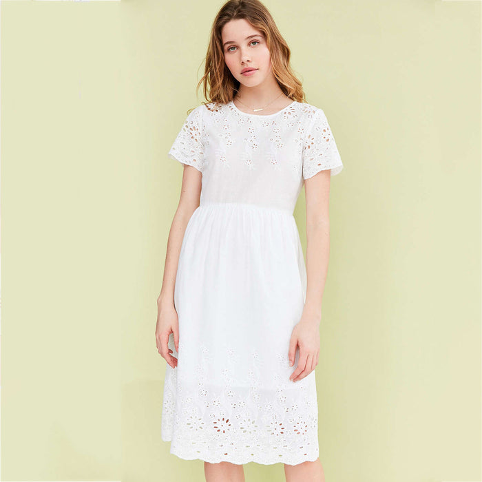 Chicloth Short sleeve Lace Little White Dress-Chicloth