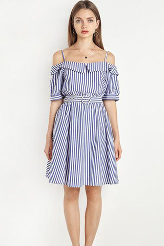 Chicloth Off The Shoulder Striped Shirt Dress