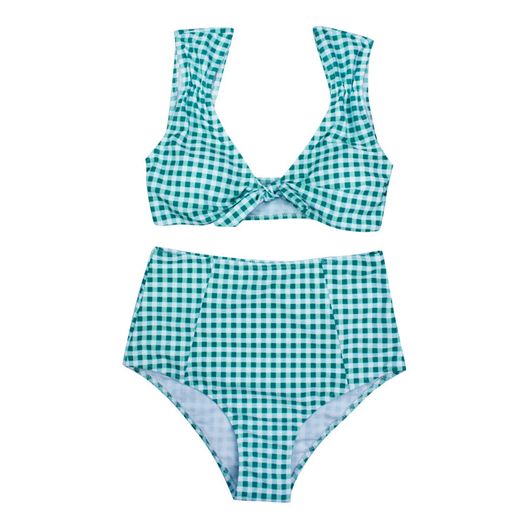 Chicloth Two Color Swimsuit Front Tie Bow Women Beachwear Green Lattice