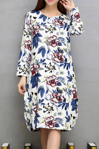 A| Cotton Floral Short Sleeve Knee-Length Shift Dress - Chicloth