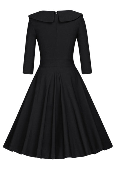 Chicloth 1950s Style 3/4 Sleeve Black Splice Flare A-Line Vintage Dress-Vintage Dresses-Chicloth