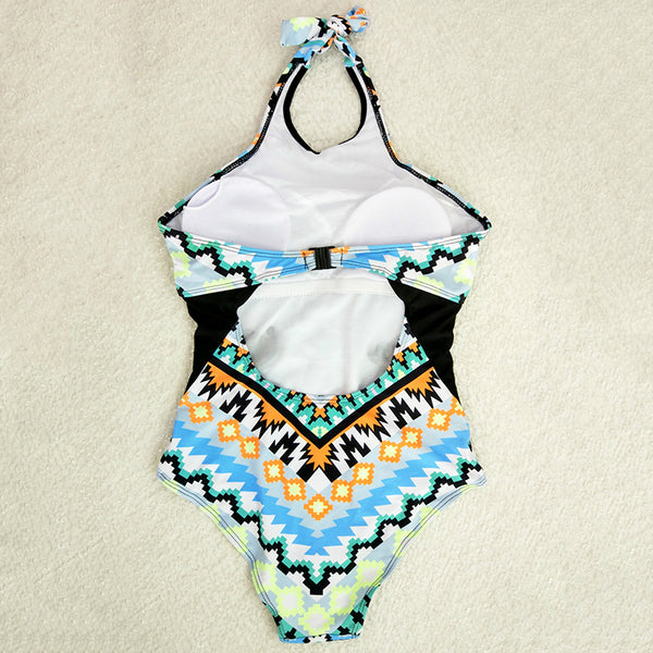 A| Chicloth Geometric Design One Piece Halter Swimsuit - Chicloth