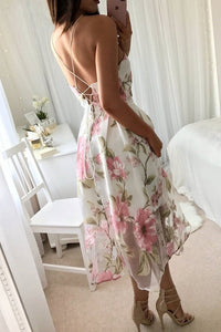 Chicloth Summer Floral Print Casual Sleeveless Women Long Mesh Dress
