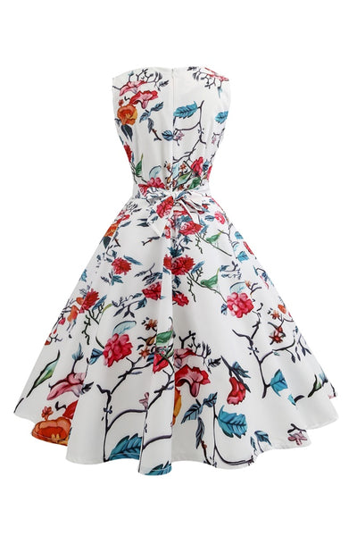 B| Chicloth White Vintage Dress Red Rose Printed Party Dress Waist Belt Women Dress - Chicloth