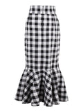 Chicloth Mermaid Black and white Plaid Skirt