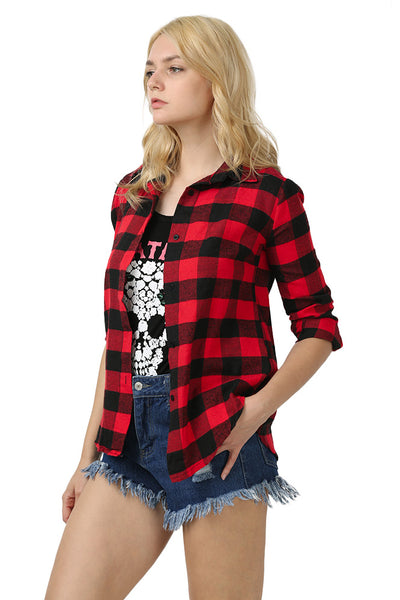 Chicloth New Wild Plaid Long Shirt Long Sleeve Casual Ladies Shirt 01