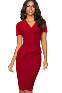 A| Chicloth V-Neck Women Red Office Dress