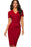 A| Chicloth V-Neck Women Red Office Dress-office dresses-Chicloth