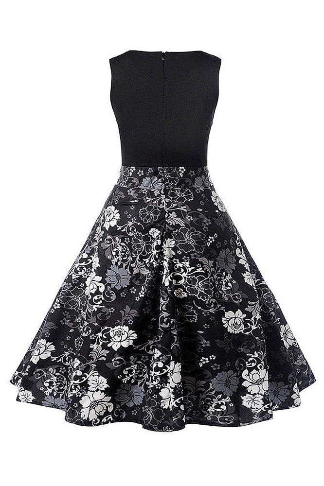 A| Chicloth Fresh Elegant Black Women Dress White Flower Printed - Chicloth