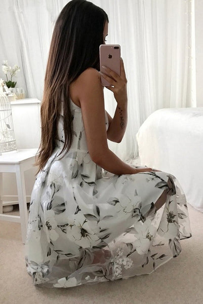 Chicloth Summer Floral Print Casual Sleeveless Women Long Mesh Dress 01