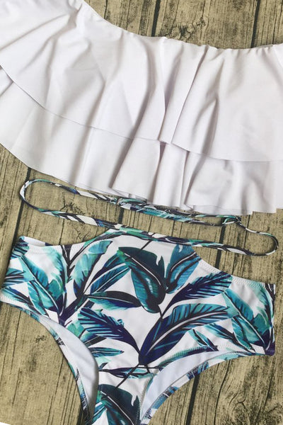 Chicloth  Double Lotus leaf  and Printed Bikini Set - Chicloth