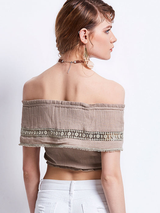 Chicloth Elegant Off-the-shoulder Crop Top-Chicloth