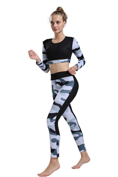 B| Chicloth Digital Printing Camouflage Yoga Clothing Suit Casual High Waist Pants Sportswear-Gym Sets-Chicloth