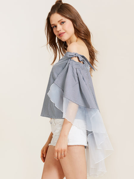 Chicloth Blue Sweet Girl Bow Tie Off the Shoulder Women's Top - Chicloth