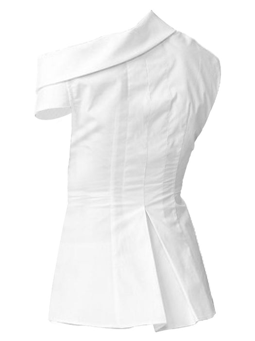 Chicloth Asymmetric Neck White Top-Chicloth